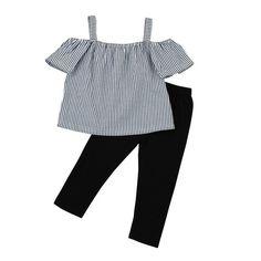 c37a7ea8ec6cd 2 Piece Set  Off Shoulder Striped Top   Pants. Tenue 2 PiècesTenues De FillePantalons  Pour EnfantsManches De FilleShort ...