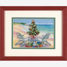 Cross Stitching, Cross Stitch Embroidery, Cross Stitch Patterns, Beach Christmas, Christmas Cross, Coastal Christmas, Christmas 2017, Counted Cross Stitch Kits, Sewing Crafts