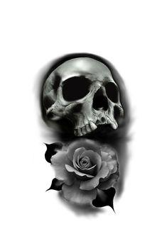 Floral Tattoo Design, Skull Tattoo Design, Tattoo Designs, Skull Rose Tattoos, Hannya Tattoo, Flower Tattoo Drawings, Black And Grey Tattoos, Tattos, Anatomy