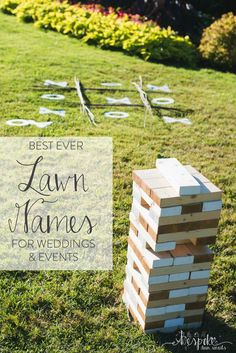 Best ever Lawn Games for Weddings The Inn has a yard in the back and encourages … summer wedding trend – Outdoor Wedding Decorations 2019 Outdoor Wedding Games, Lawn Games Wedding, Wedding Reception Games, Wedding Events, Wedding Backyard, Reception Ideas, Outdoor Games, Jenga Wedding, Cocktail Wedding Reception