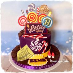 by Nanna Lyn Cakes Chocolate Button Cake, Wonka Chocolate, Chocolate Buttons, 10 Birthday Cake, Golden Birthday, Willy Wonka, Chocolates, Charlie Chocolate Factory, Cake Competition