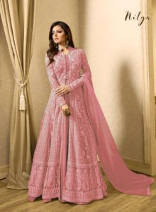 Drashti dhami pink embroidered georgette net anarkali suit buy resham embroidered silk anarkali suit in brown color online Indian Gowns, Indian Attire, Indian Outfits, Pakistani Outfits, Anarkali Gown, Anarkali Suits, Lehnga Dress, Stylish Dresses, Fashion Dresses