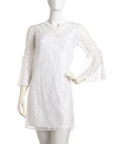 Lace-Up Sleeve Pointelle Dress, Optic White by Laundry by Shelli Segal at Last Call by Neiman Marcus.