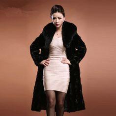 Free shipping 2015 Women's Fashion Raccoon dog Fur Coat with Fox Fur Collar Outerwear Lady Garment Plus X-Long female