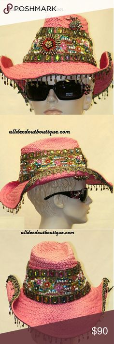 Whittall & Shon Cowgirl Hat Spider Pendant Whittall & Shon pink cowgirl hat, embellished with pendant and spider, sequin beads, sequin tassles Whittall & Shon Accessories Hats
