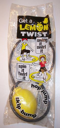 Oh, yes, I had one of these! I loved it so much. I remember lemon twisting in my grandparents' back yard. I remember how smooth and worn the lemon got from rubbing against the concrete. I remember the sound of the lemon (it had beads in it so it was like a rattle). So nice to see this. =)