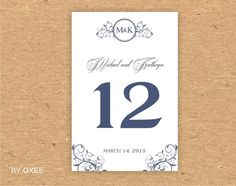 Printable Wedding table number card template Navy Blue by Oxee