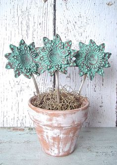 Repurposed Vintage Spoon Rustic Sunflower Plant by OldeKettleLane