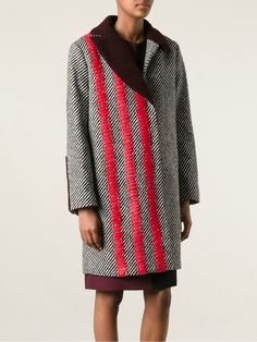 Fendi Black And Grey Silk, Wool Blend And Lambs Fur Diagonal Striped Coat Featuring Mauve Shearling Notched Lapels And Bright Red Vertical Striped Stitch Detailing