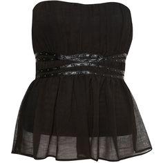 Topshop - Pagan Chiffon Corset (220 MYR) ❤ liked on Polyvore featuring tops, shirts, corset, black, black corset shirt, black shirt, topshop shirt, corset shirt and corset tops