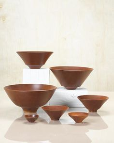 Bob Stocksdale (born 1913) Group of Six Bowls, 1992South African pink ivory wood, incised artist's marks to underside of each, together with a copy of the invoice diameters from 4 1/2in (11.5cm) to 10in (25.5cm)