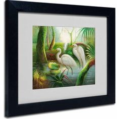 Trademark Fine Art Two Herons Canvas Art by Victor Giton, Black Frame, Size: 11 x 14, Multicolor