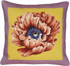 Floral Poppy Needlepoint Wool Throw Pillow
