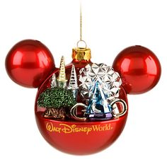 Walt Disney World Resort Mickey Mouse Icon Ornament - ''Four Parks, One World'', Red, Item No. 7509002522511P, $18.95, 4'' H