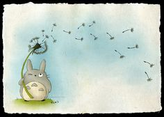 Totoro with a Dandelion by ~Lyrin-83 on deviantART