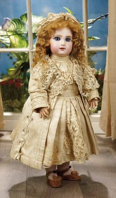 Sanctuary: A Marquis Cataloged Auction of Antique Dolls - March 19, 2016: French Bisque Bebe by Emile Jumeau with Couturier Costume