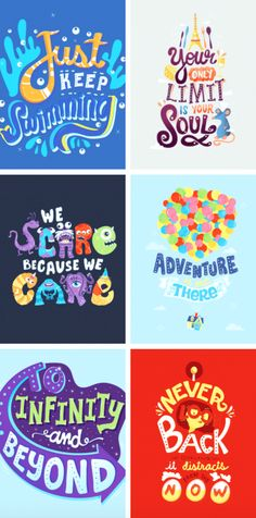 Finding Nemo, Ratatouille, Monsters Inc, Up, Buzz Lightyear Toy Story, The Incredibles - Pixar Typography