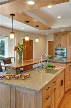 Kitchen Interior Design Remodeling Contemporary Kitchen with Quartz Countertops and Red Birch Cabinets Birch Cabinets, Farmhouse Kitchen Cabinets, Kitchen Countertops, Filing Cabinets, Brown Cabinets, Maple Kitchen Cabinets, Kitchen Ideas Light Wood Cabinets, Light Oak Cabinets, Quartz Countertops Colors