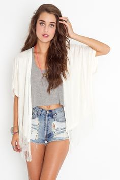 NASTY GAL Fringed Lace Kimono, Slasher Flick Cutoff Shorts. Newport Racerback Tank