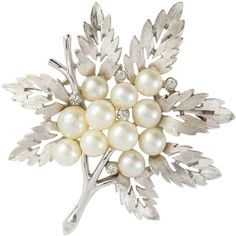 Susan Caplan Vintage Bridal 1960s Trifari Silver Plated Swarovski... (1.030 HRK) ❤ liked on Polyvore featuring jewelry, brooches, pearl brooch, costume jewelry, vintage pearl brooch, swarovski crystal brooch and vintage broach