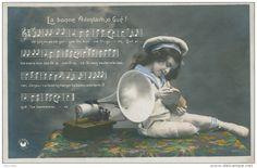 """ENFANTS - Jolie carte fantaisie petit garçon et gramophone """"La bonne aventure, o Gué ! """""""