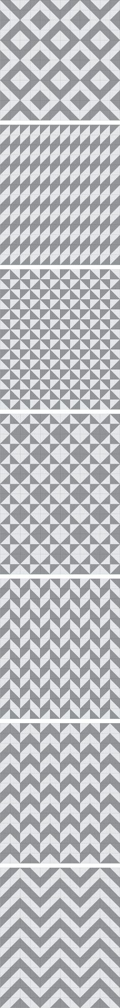 Seven more half-square triangle layout patterns..