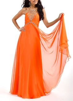 Beautiful Chiffon A-line Jewel Neckline Ruched Bodice Full Length Evening Gown With Beadings by DressilyMe After Prom Dresses, Orange Prom Dresses, Unique Prom Dresses, Wedding Dresses Plus Size, Prom Party Dresses, Formal Evening Dresses, Occasion Dresses, Homecoming Dresses, Evening Gowns