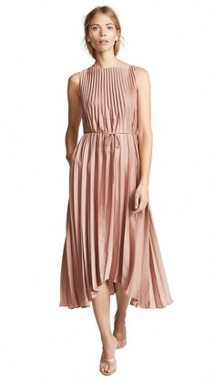 Pleated Dress,  #PleatedDress #Polyester #Vince #VintageRose #linenweddingdresses