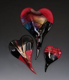 Red and Black Glass Wall Hearts by Nina Cambron: Art Glass Wall Art available at www.artfulhome.com