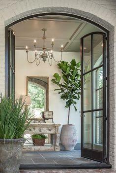 steel french doors leading to gracious entry hall Design Hotel, Design Entrée, House Design, Hall Design, Design Trends, Design Ideas, Foyer Design, Garden Design, Property Design