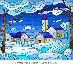 Illustration in stained glass style, urban winter landscape,roofs and trees against the day sky and snow Stained Glass Quilt, Stained Glass Projects, Stained Glass Patterns, Stained Glass Windows, Paisley Art, Tole Painting, Winter Landscape, Easy Paintings, Texture Art