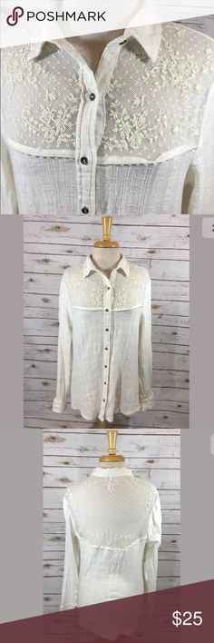"""Free People Saddle Up Shirt Free People """"Saddle Up Shirt"""" ivory gauzy long sleeve button-front women's top with lace yoke.  100% cotton.  Labeled a size Large. As all brands are sized differently, please review measurements to ensure a proper fit.  Bust: 39"""" Length from shoulder to bottom hem: 27"""" 26 1/4"""" from shoulder seam to end of sleeve  Very good preowned condition. Minimal pilling/wash wear. No holes or stains. Free People Tops Button Down Shirts"""