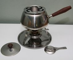 Anyone for Fondue?!   Vintage RW 2qt FONDUE Set 18 8 Stainless Steel Mid Century Modern Party Cheese