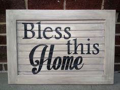 Hand painted sign Bless this Home 23.25 x 16 x by BlessedHomeDecor