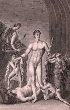 Gravure-XVIIIe-Thesee-Minotaure-Theseus-Minotaur