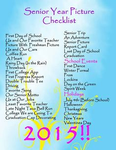 Arts And Crafts Paper - Senior year checklist - Gymnasium Senior Yearbook Ideas, Senior Scrapbook Ideas, Senior Year Quotes, Senior Year Pictures, Yearbook Pages, School Scrapbook, Cheer Pictures, Senior Pics, Graduation Scrapbook