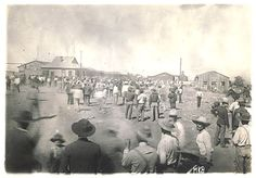 Mexican workers gathered in an open area during the 1906 strike at the Cananea Mines. It was a pivotal point ahead of the Mexican Revolution.