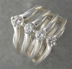 New HUGE .50ct Genuine Diamond Journey Diamond Right Hand Ring 14kt White Gold