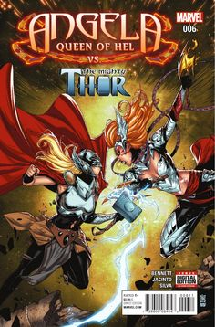 Angela: Queen of Hel No. 6 Cover Featuring Thor (Female), Angela Marvel Comics Poster - 30 x 46 cm Marvel Dc Comics, Marvel Fanart, Marvel Vs, Dc Comics Art, Marvel Girls, Comic Book Characters, Marvel Characters, Comic Character, Comic Books Art