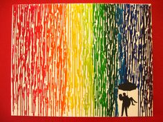 Rainbow Encaustic Wax Painting - 16x20 Canvas - Melted Crayon Art - Couple Standing in The Rain. $55.00, via Etsy.