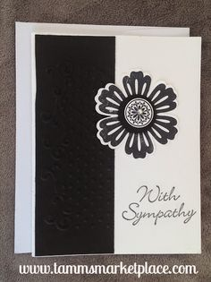 With Sympathy Handmade Card with Jewels and Stamped, Embossed Papers MKC049