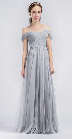 Elegant Long Tulle Off Shoulder Light Grey Bridesmaid Dress