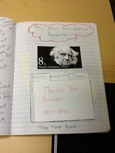 President Top Tab Book  social studies notebook, also includes a post on how to grade interactive notebooks