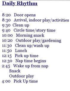 Sample of a Waldorf Preschool schedule