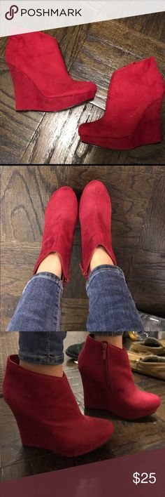 Michael Antonio red suede wedge booties Michael Antonio red suede wedge booties. So cute for the holiday season! Only worn once. Great condition with only a few small scuff marks on the back. zipper closure on the inside of the booties. Michael Antonio Shoes Ankle Boots & Booties