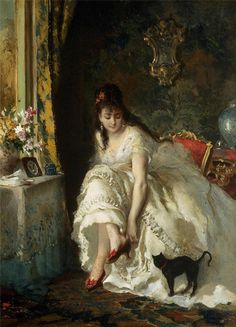 """the-garden-of-delights:  """"In the Boudoir"""" by Lucius Rossi (1846-1913)."""