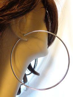 LARGE 4 INCH Hoop Earrings Eternity Hoops by Ilovetobuildhoops Big Earrings, Hoop Earrings, Ear Rings, Sexy, Jewellery, Make Up, Jewerly, Ear Piercings, Earrings