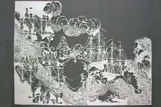 Emma Van Leest ~ Cumuliform ~ archival paper, foamcore and glue at Olsen Irwin Gallery Sydney Australia Paper Crafts Origami, 3d Paper, Paper Pop, Christmas Landscape, Paper Animals, Paper Artist, Paper Design, Kirigami, Paper Cutting
