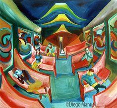 tren a la noche 3 , acrylic on canvas, 45 x 65 cm. 2002. Venta de pinturas sobre trenes. Paintings of trains for sale. venda de pinturas de trens.