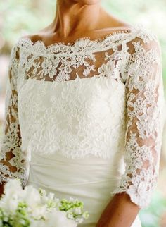 a gorgeous custom ¾ sleeve length lace bolero to go with a strapless dress, front